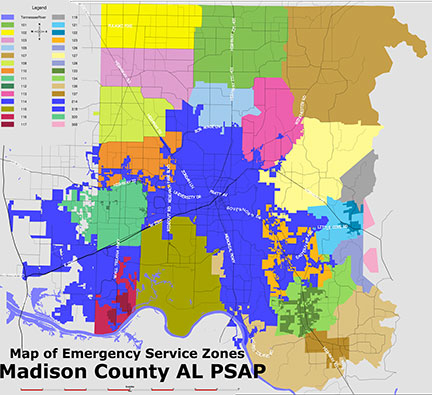Example GIS map showing the emergency zones in madison county, al.