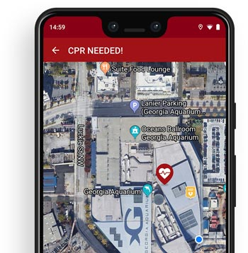 Screenshot of the pulsepoint app.