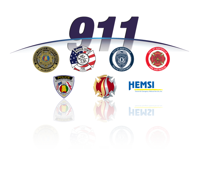 Graphic showing the logos for the agencies housed under Madison County 9-1-1.