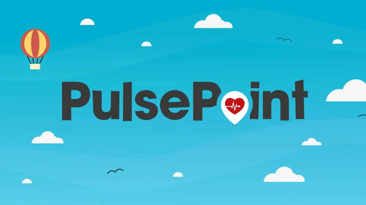 Intro image for pulsepoint respond video showing a graphic with a bluse sky and a the pulsepoint logo.