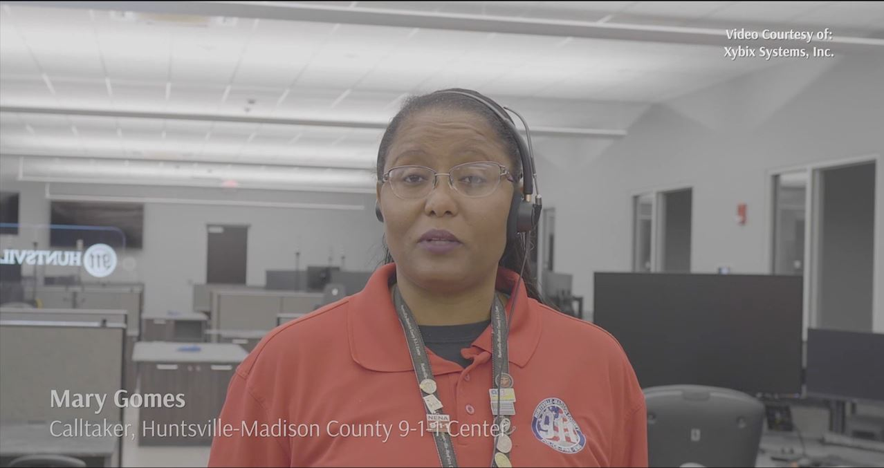 Mary Gomez inside the 9-1-1 callcenter discussing her passion for a career in public safety.